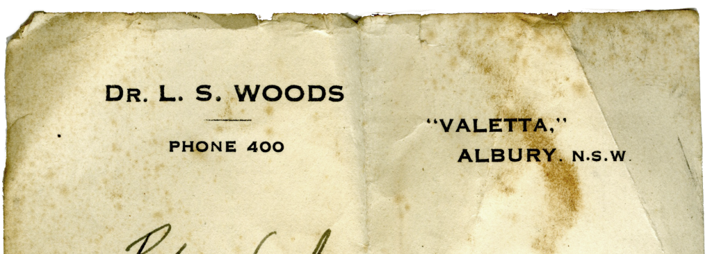 Dr L.S.Woods notepaper with address